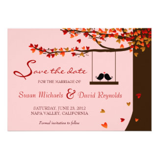 Love Birds Falling Hearts Oak Tree Save the Date Personalised Invitations