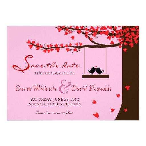 Love Birds Falling Hearts Oak Tree Save the Date Custom Invitations