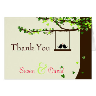 Love Birds Falling Hearts Oak Tree Thank You Note Card