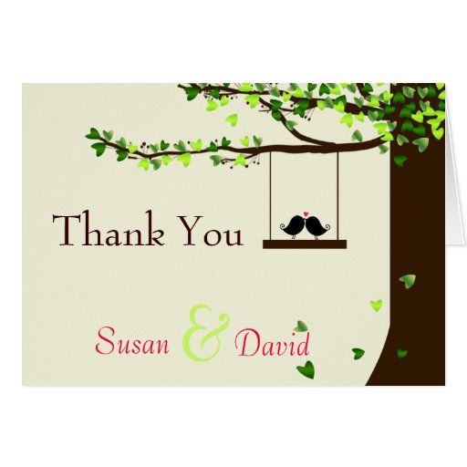 Love Birds Falling Hearts Oak Tree Thank You Note Greeting Cards