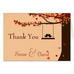 Love Birds Falling Hearts Oak Tree Thank You Note Note Card