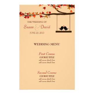 Love Birds Falling Hearts Oak Tree Wedding Menu 14 Cm X 21.5 Cm Flyer
