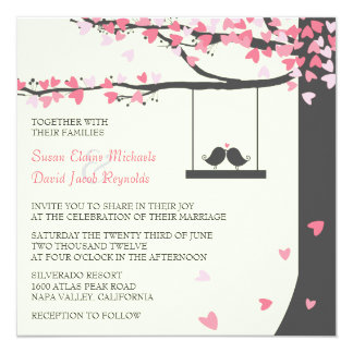 Love Birds Falling Hearts Pink Grey Oak Tree 13 Cm X 13 Cm Square Invitation Card