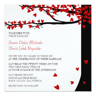 Love Birds Falling Hearts Red Black Oak Tree Card