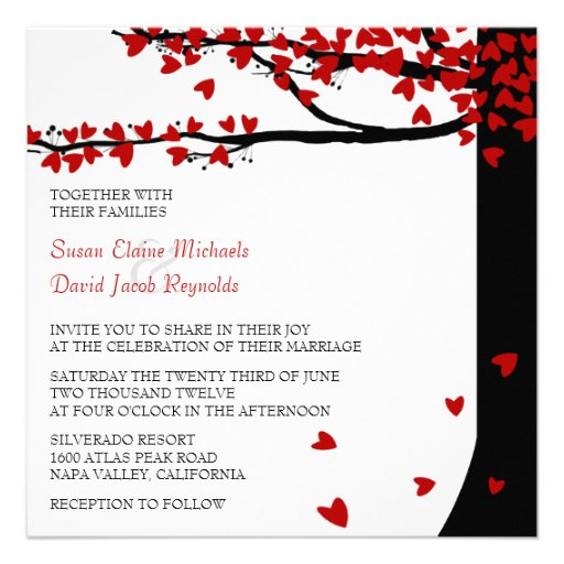 Love Birds Falling Hearts Red Black Oak Tree Invite