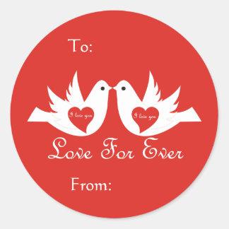 Love Birds Gift tag Round Stickers