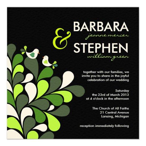 Love Birds - Green Black Felt Wedding Invitations