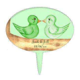 Love Birds (Green) Cake Picks