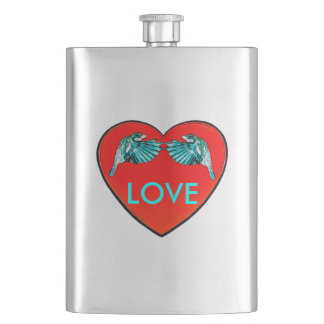 Love Birds Heart Premium Hip Flask