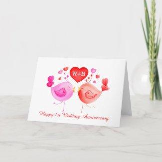 Love birds heart red pink 1st Anniversary art card