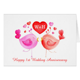 Love birds heart red pink 1st Anniversary art card