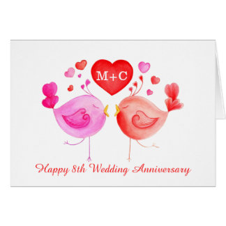 Love birds heart red pink Anniversary art card