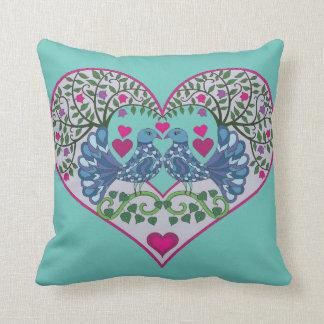Love Birds Heart Throw Cushions