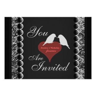Love Birds Hearts Black and White Wedding Invite