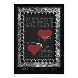Love Birds Hearts Black White Save the Date Cards 13 Cm X 18 Cm Invitation Card