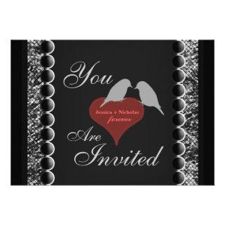 Love Birds Hearts Black White Wedding Invites