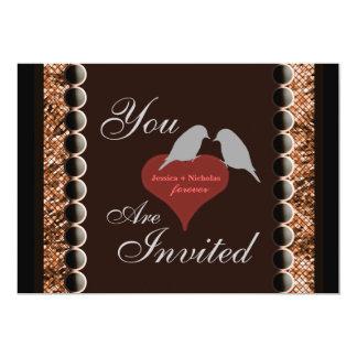 Love Birds Hearts Brown Wedding Invitations