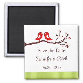 Love birds, hearts Save the Date Magnet