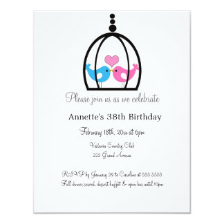 Love Birds in Fancy Cage Party Invitation