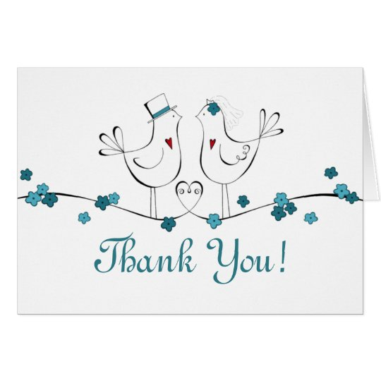 Love Birds in Teal -Thank You Cards