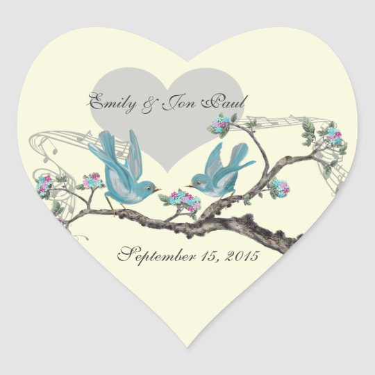Love Birds in Tree Pink Aqua Wedding Stickers