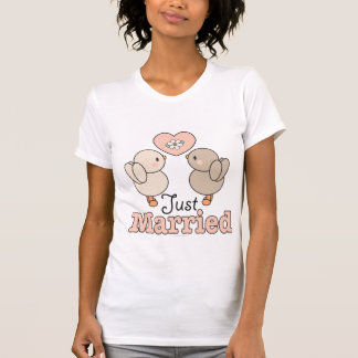 Love Birds Just Married Bride T shirt