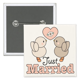 Love Birds Just Married Button