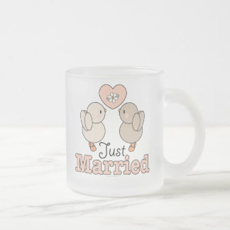 Love Birds Just Married Wedding Frosted Mug
