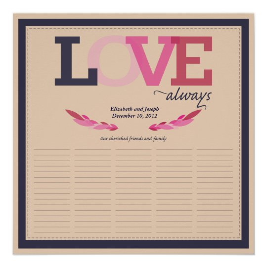 Love Birds Keepsake Wedding Signature Poster