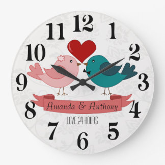 Love birds, love 24h. large clock