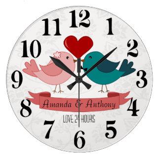Love birds, love 24h. wallclock