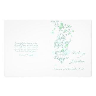 Love birds mint green Wedding Programme