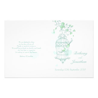 Love birds mint green Wedding Programme Custom Flyer