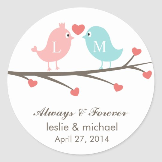 Love Birds Monogram Wedding Favour Stickers