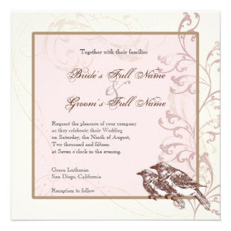 Love Birds n Lace - Rose Wedding Invitation
