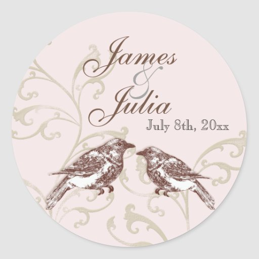 Love Birds 'n Lace - Rose Wedding Seal Sticker