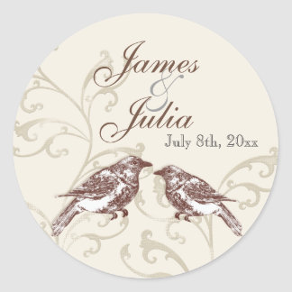 Love Birds 'n Lace - Wedding Seal Stickers
