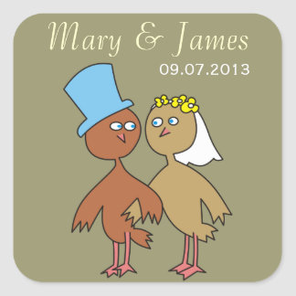 Love Birds Names and Date Wedding Stickers