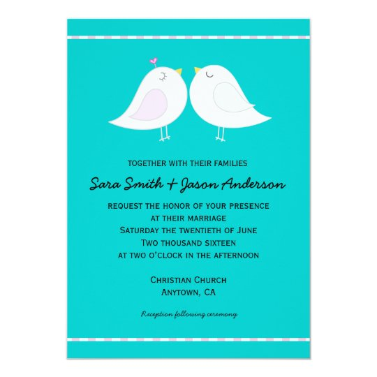 Love Birds on Aqua Background Wedding Invitation