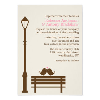 Love Birds on Park Bench Wedding 13 Cm X 18 Cm Invitation Card