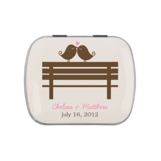 Love Birds on Park Bench Wedding Jelly Belly Candy Tins