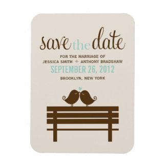 Love Birds on Park Bench Wedding Rectangular Photo Magnet