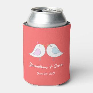 Love Birds on Pink, Wedding Can Cooler