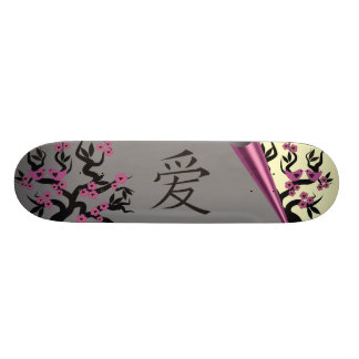 Love Birds On Sakura Tree And Chinese Love Symbol Skate Board Decks