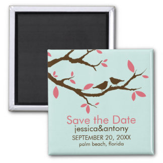 Love Birds on Tree Wedding Save the Date Square Magnet