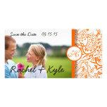 Love Birds Orange Damask Save the Date Customised Photo Card