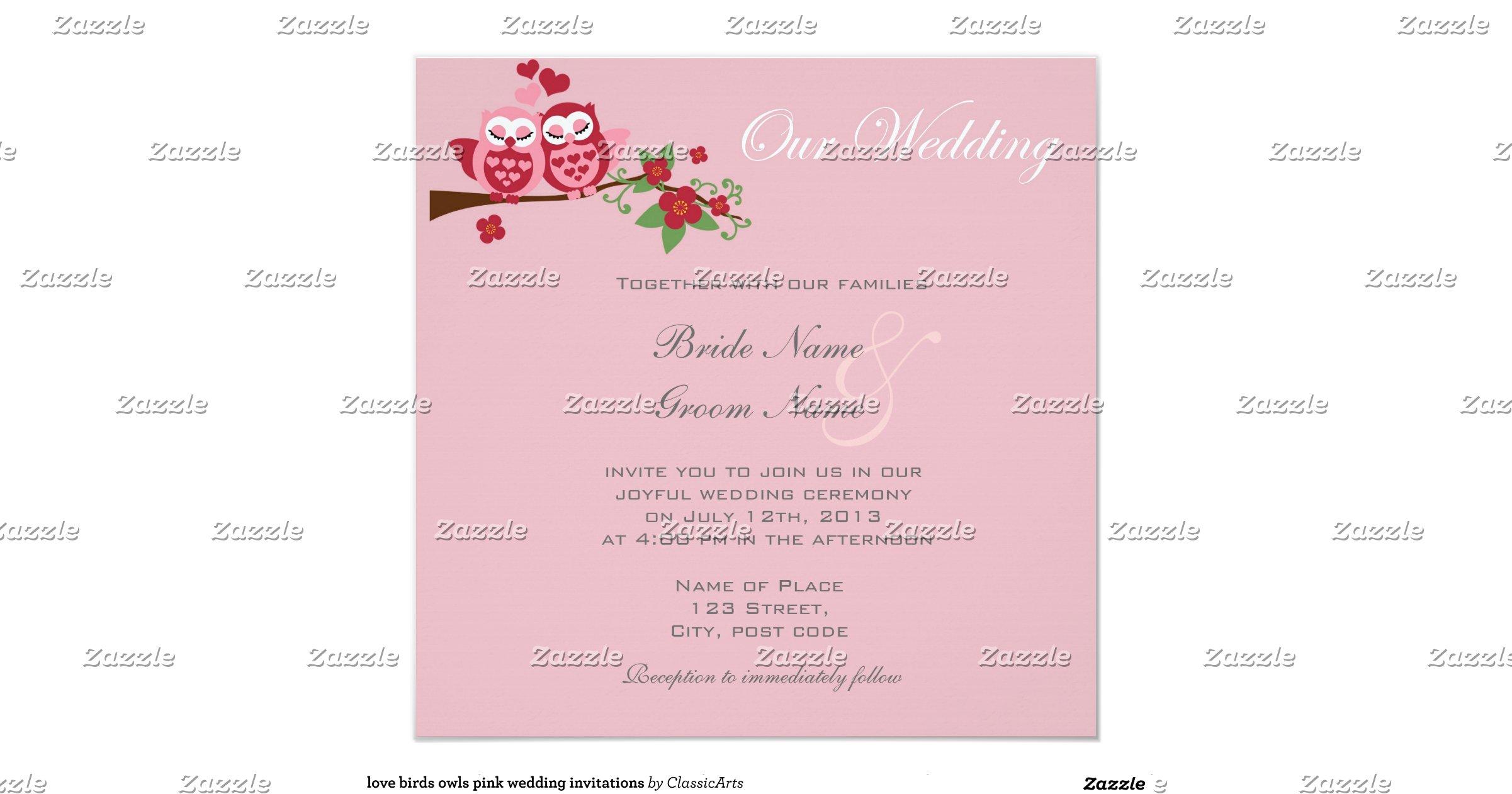 Love Birds Wedding Invitations: Love Birds Owls Pink Wedding Invitations