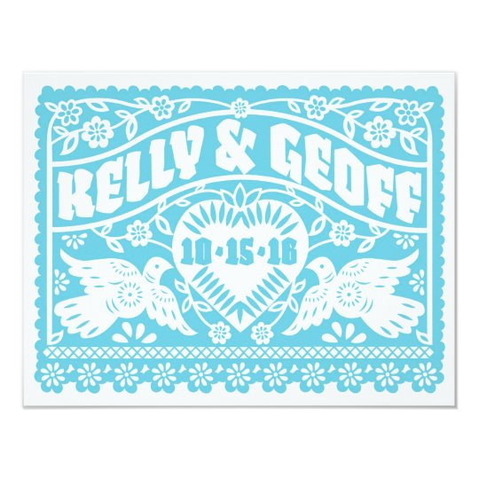 Love Birds Papel Picado Save the Date Card