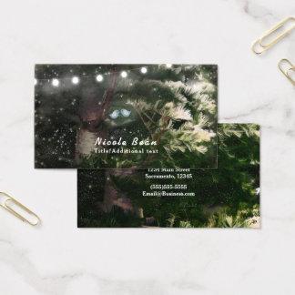 Love Birds + Pine Tree Night Rustic String Lights Business Card