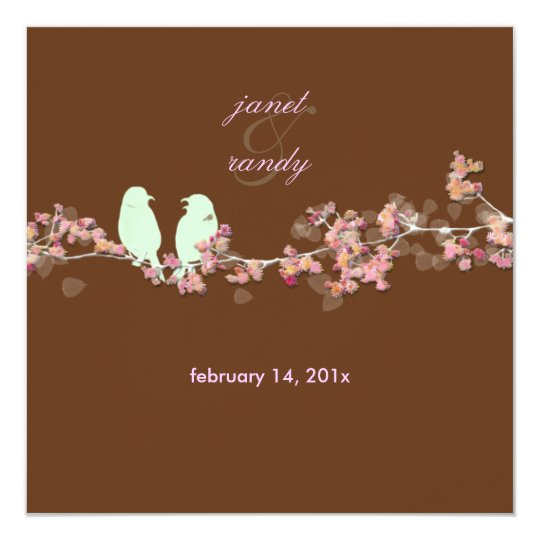 Love birds pink blossoms/beige card